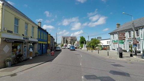 Caherciveen, Kerry / Ireland - 06 17 2017: Driving through Caherciveen town.