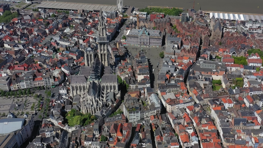 Aerial view of cityscape of Antwerp, gothic style landmark Cathedral of Our Lady Antwerp and river Scheldt in historic center of city - landscape panorama of Belgium from above, Europe
