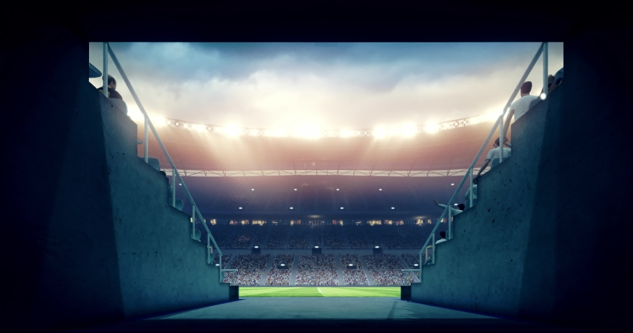 4k footage of a professional soccer stadium. The stadium was made in 3d without using existing references.