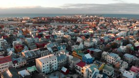 Reykjavik Aerial Skyline Footage of Capital City of Iceland at sunset
