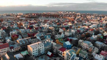 Reykjavik Aerial Skyline Footage of Capital City of Iceland at sunset