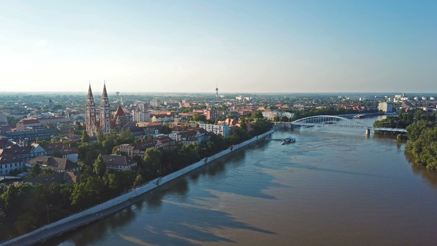 Aerial skyline of Szeged and the river Tisza Royalty-Free Stock Footage #1031179586