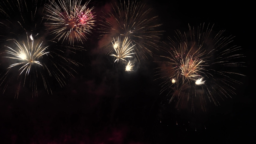Beautiful fireworks or fireworks at night are beautiful. | Shutterstock HD Video #1031189093