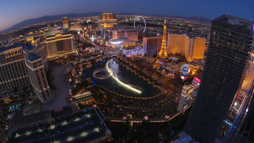 Las vegas circa a unique evening aerial establishing shot of the las vegas strip with the bellagio fountains in the foreground | Shutterstock HD Video #1031201078