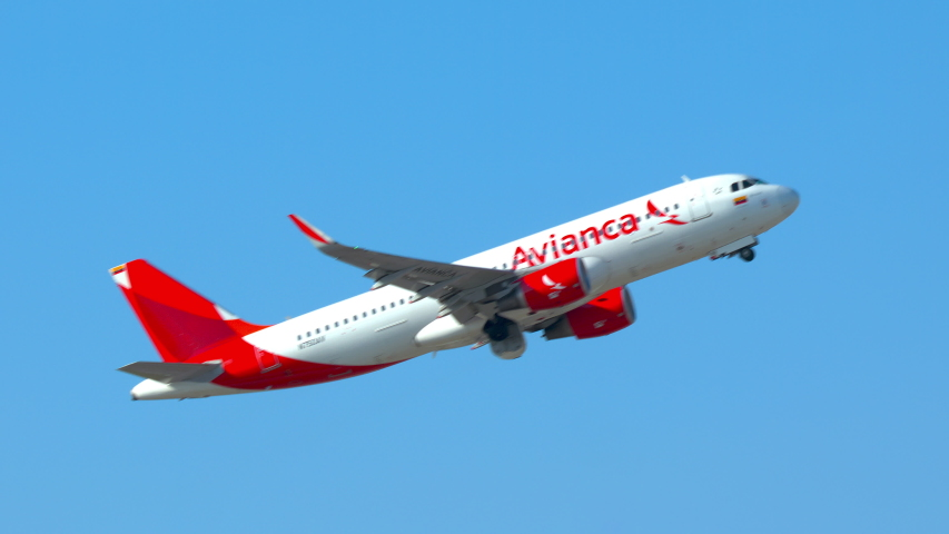 FT. LAUDERDALE, FL - 2019: Avianca Airbus A320 Commercial Passenger Jet Airliner Taking Off from Fort Lauderdale Hollywood FLL International Airport on a Sunny Day in South Florida