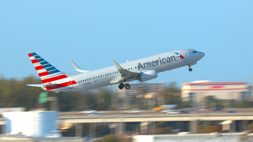 FT. LAUDERDALE, FL - 2019: American Airlines Boeing 737-800 Next Gen Commercial Passenger Jet Airliner Taking Off from Fort Lauderdale Hollywood FLL International Airport on a Sunny Day in Florida