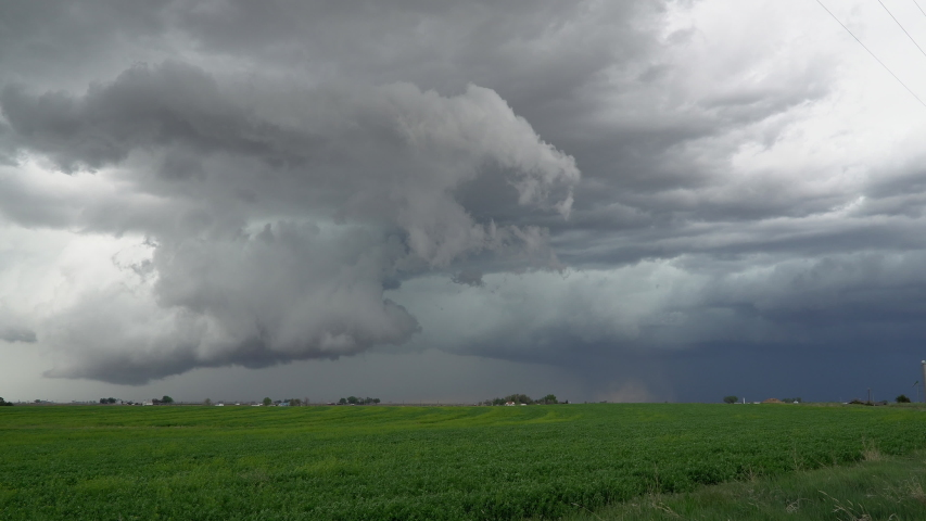 Storm clouds moving over the landscape during tornado warning in Eastern Colorado.