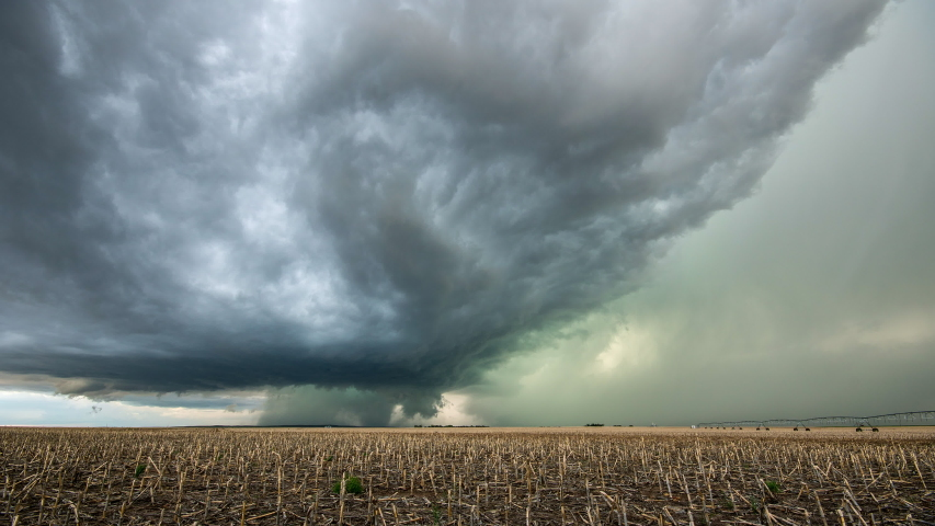 Time lapse of tornado warned supercell storm rolling through the Nebraska plains as it moves over the landscape as it changes shape.