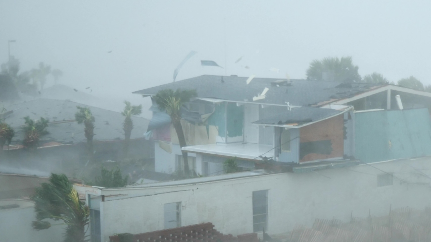 Category 5 Hurricane Michael Wind Rips Homes Apart #1031249690