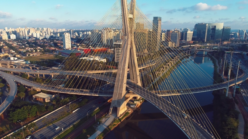 Transportation Estaiada's Bridge Aerial View. São Paulo, Brazil. Business City. Viaduct City Aerial View. City Landscape. Cable-stayed Viaduct of Sao Paulo. Downtown City Life Aerial Landscape. Bridge