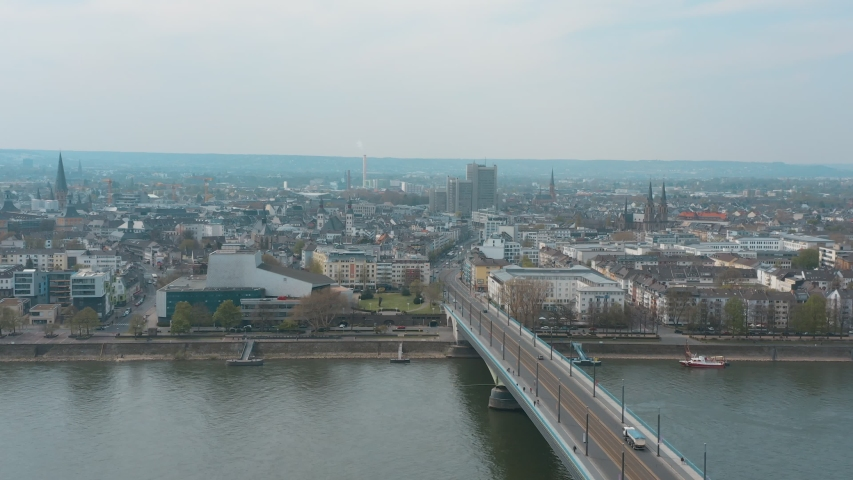 Drone / Aerial shot of the panorama of Bonn Kennedybücke Kennedy bridge and opera Bonn with the river rhine 30p