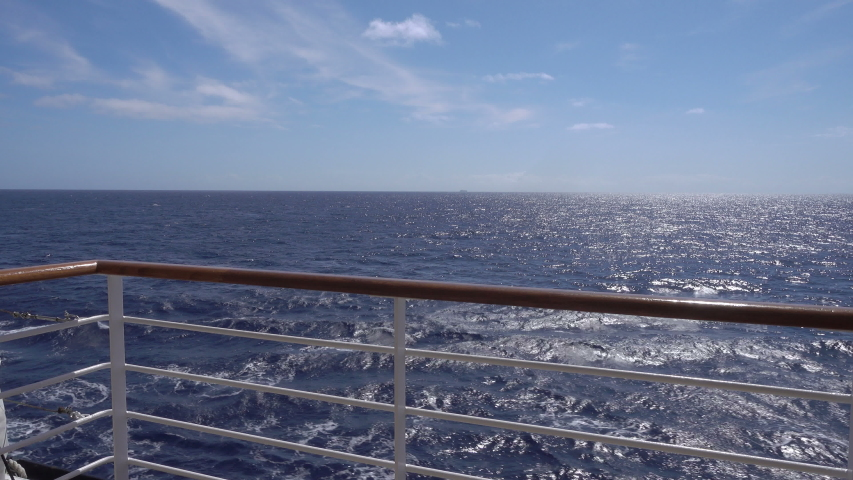 Railing of cruise ship on sunny day at sea | Shutterstock HD Video #1031288921