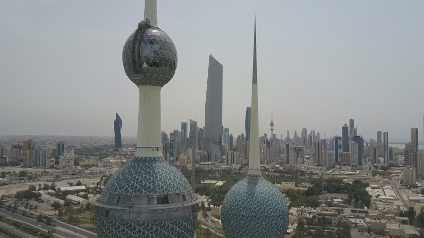 Aerial view of the Kuwait Towers.