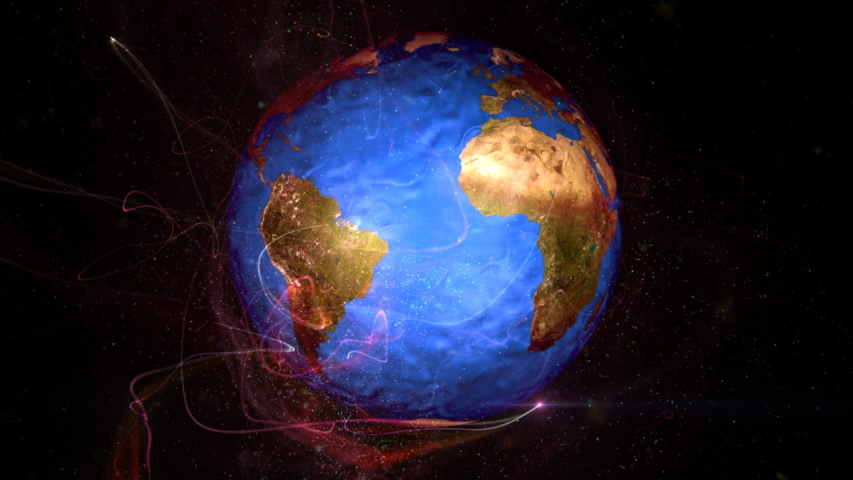 Earth in particles seen from space   Shutterstock HD Video #1031356805