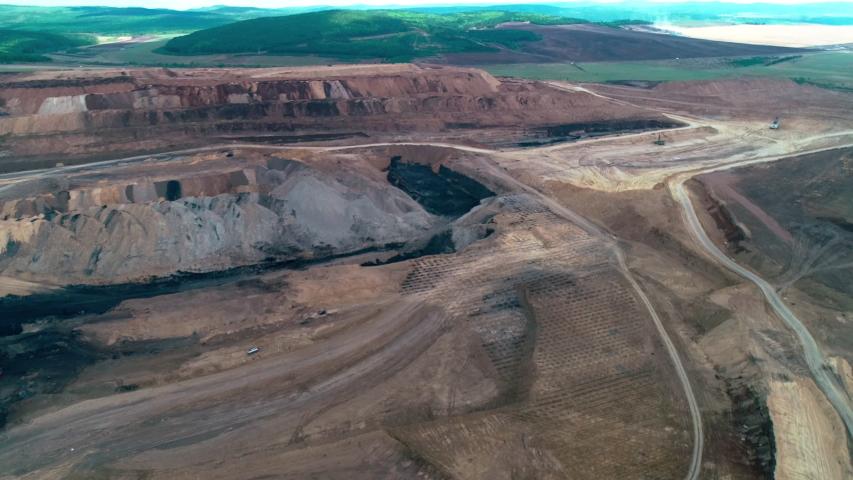 Coal mining explosive works aerial