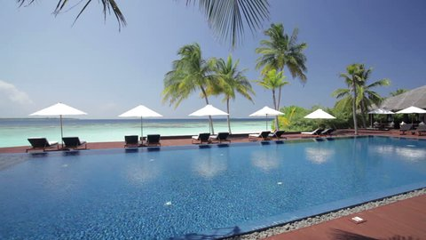 tropical island resort swimming pool