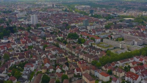 Aerial of the city Heilbronn in Germany, pan to the left.