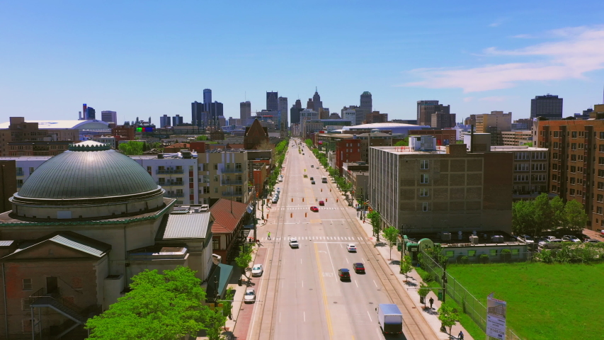 Woodward ave in Detroit Michigan aerial view