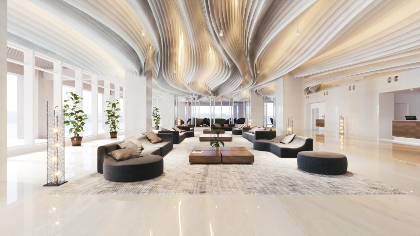 Luxurious hotel lobby with large sofas. Realistic visualisation.