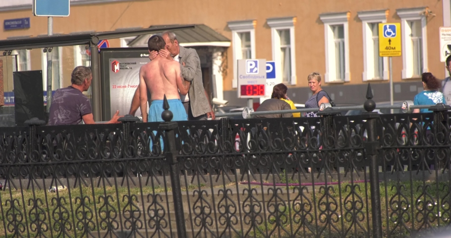 09.06.19: 4K sunny morning video of Moscow's central Tri Vokzala (Three railway stations) square area and homeless people fighting, hugging and interacting in Russia's capital