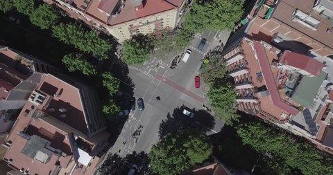 Barcelona, Spain April 26, 2019: Bird's eye view of Barcelona streets