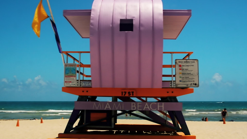 MIAMI BEACH, FLORIDA, USA, May 04 2019: A view to the pink coloured bay watch house located at South Beach in Miami Beach, Florida, USA.