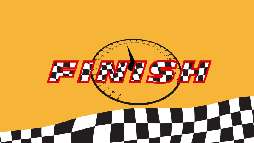 """Text """"FINISH"""" with racing flag texture. Racing background for your video"""