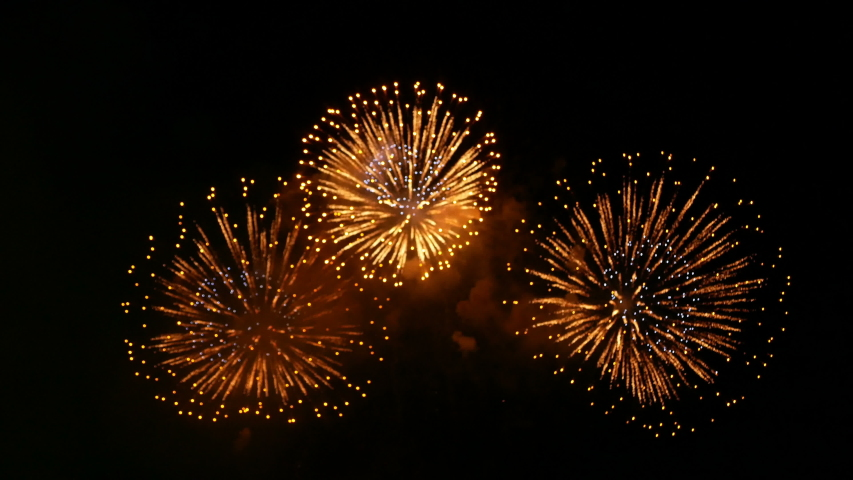 4K. loop seamless of real fireworks background. abstract blur of real golden shining fireworks with bokeh lights in the night sky. glowing fireworks show. New year's eve fireworks celebration | Shutterstock HD Video #1031495723