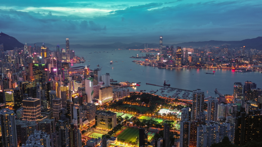 4k aerial hyperlapse video of Victoria Harbour in Hong Kong at sunset | Shutterstock HD Video #1031565509