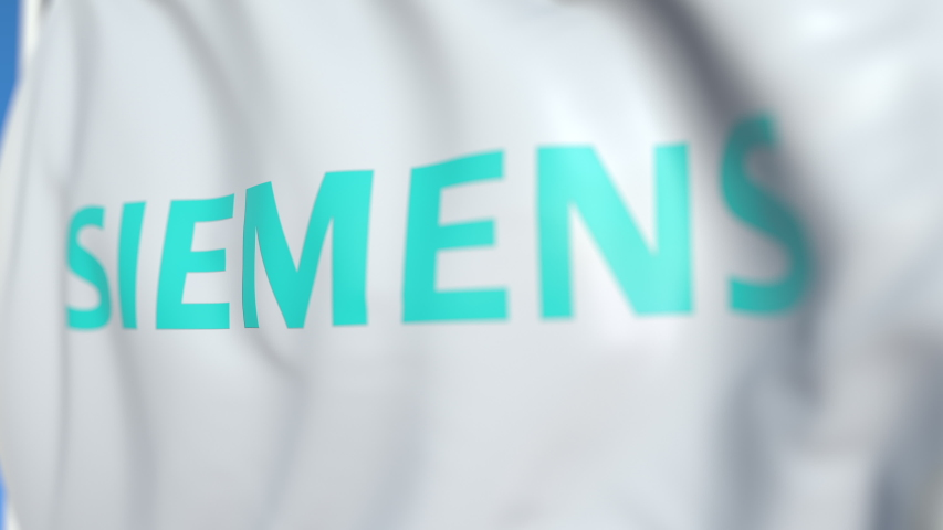 Waving flag with Siemens AG logo, close-up. Editorial loopable 3D animation | Shutterstock HD Video #1031566319