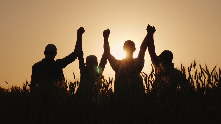 A group of successful young people hold hands, together they raise their upper hand. Successful team and team building concept. Royalty-Free Stock Footage #1031586872