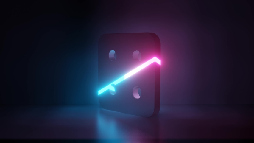 3d rendering glowing blue purple neon laser light symbol of dice four in empty space corner seamless animation   Shutterstock HD Video #1031599022