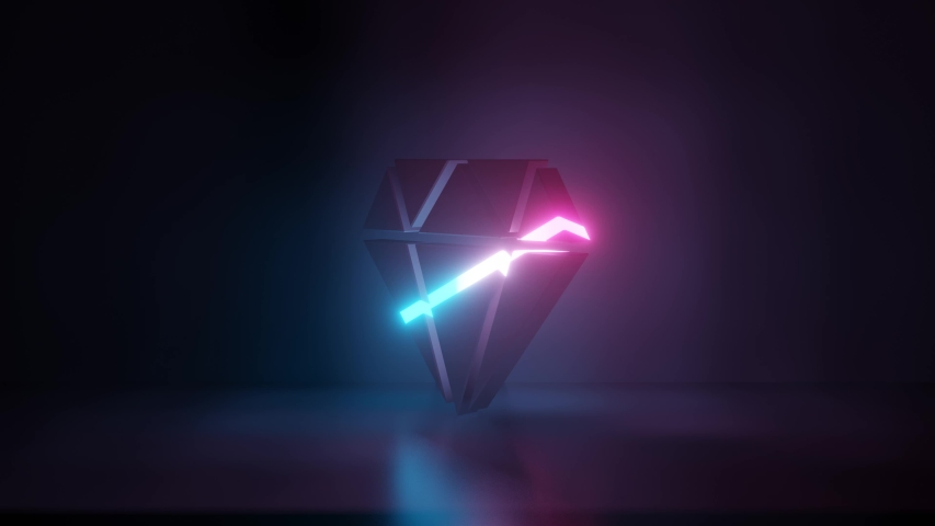 3d rendering glowing blue purple neon laser light symbol of diamond in empty space corner seamless animation | Shutterstock HD Video #1031599031