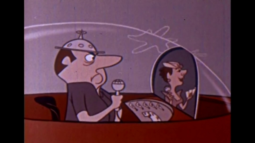 CIRCA 1950s - A man drives home and eats dinner with his family in this 1950's animated film about the future