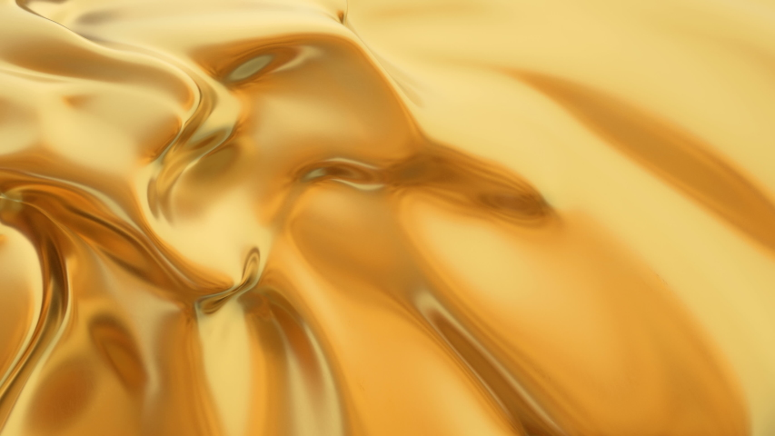 Abstract gold liquid. Golden wave background. Gold background. Gold texture. Lava, nougat, caramel, amber, honey, oil. #1031634710