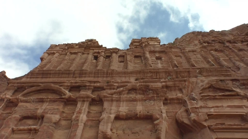 The timelapse video of Petra, Royal Tomb (World Heritage Sites) in Jordan. Fixed angle time lapse video.   Shutterstock HD Video #1031671625