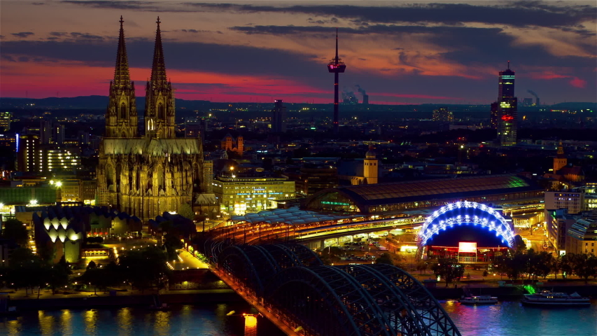 Cologne skyline aerial view timelapse from night to day germany | Shutterstock HD Video #1031675090