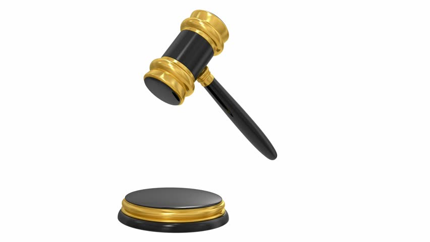 gold judge gavel isolated on white background, Alpha channel is included