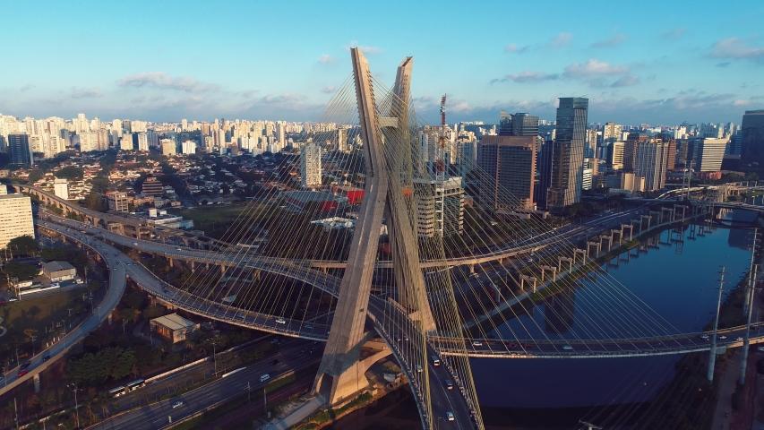 Estaiada's bridge aerial view. São Paulo, Brazil. Business center. Financial Center. Great landscape. Famous cable-stayed bridge of São Paulo. Landmark of the city. | Shutterstock HD Video #1031694272