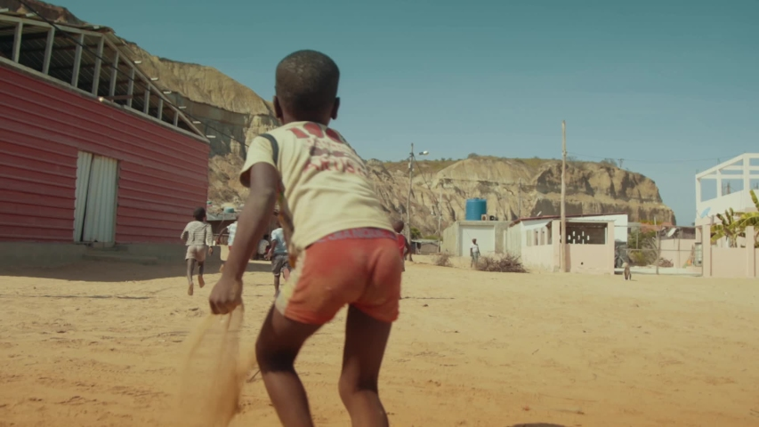 Happy African Kids Running Slow Motion