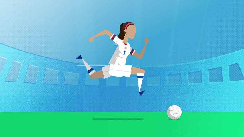 USA female soccer player running with a ball in a stadium. Loopable clip in 4K with alpha channel to use player on different backgrounds