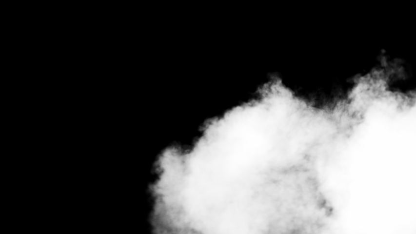 White clouds of vapor smoke are isolated on a black background. Gas explodes, swirl and dances in space. A magic fog dust texture effect that can be used by overlay and changing their transparency. #1031706746