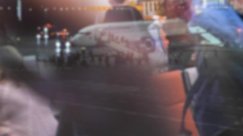 takeoff airplane blurred background aircraft flight concept reflection in the glass night double lifestyle video. people at the airport in the waiting room waiting for the plane to take off #1031746028