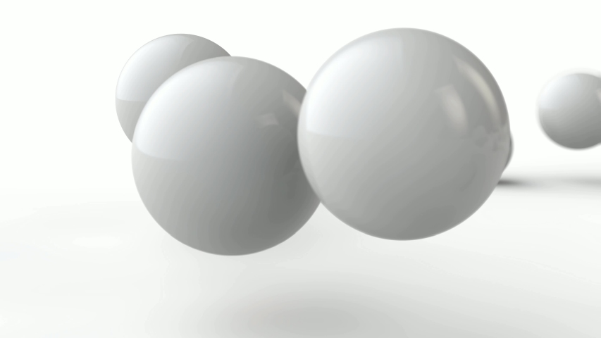 3D animation of the movement of white balls of different sizes in front of the camera lens. | Shutterstock HD Video #1031748968