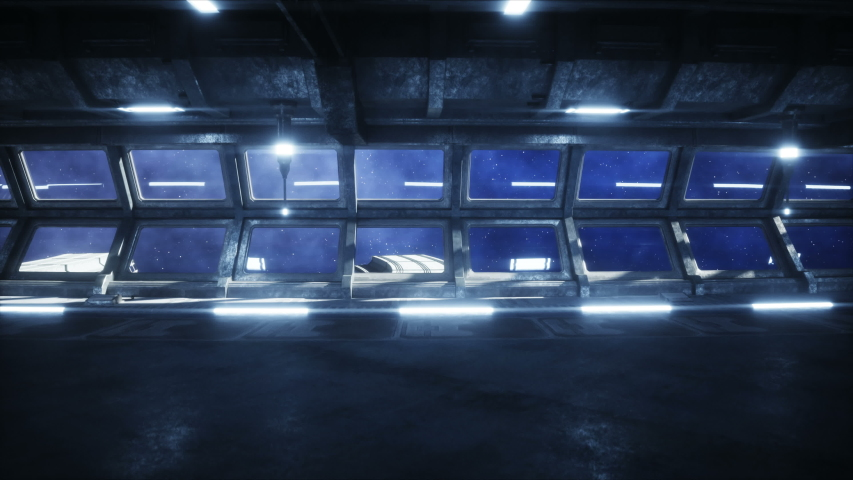 futuristic space corridor, tunnel. flight view of the earth. Cinematic 4k animation.
