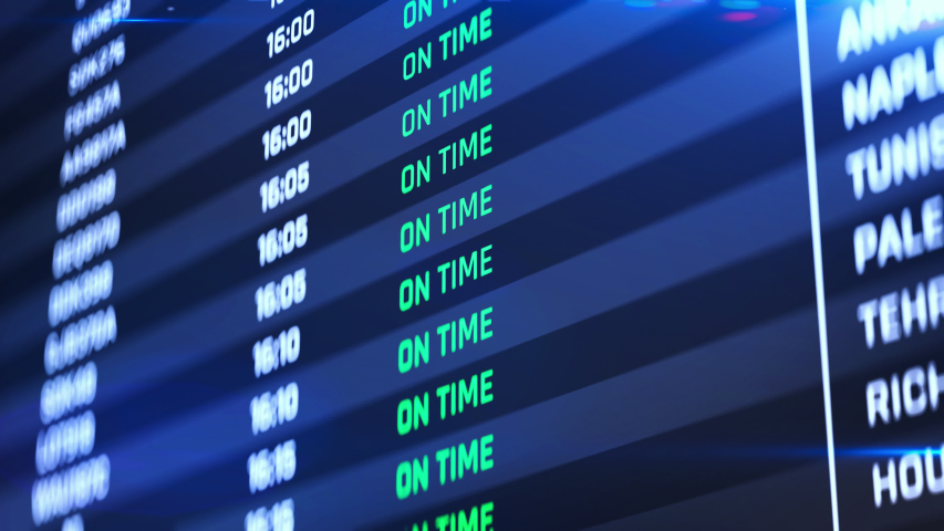 Flight status change to canceled, airport emergency, terminal schedule changing. Destinations, flight status, boarding gates info change on screen animation