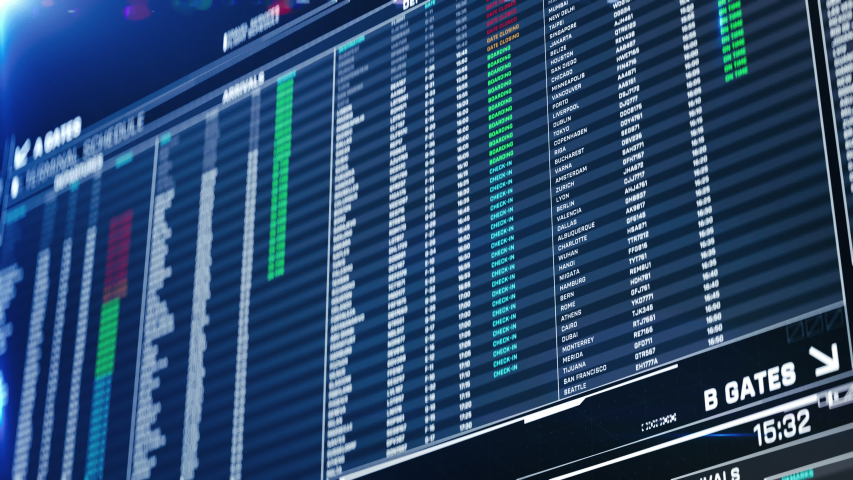 Airport departures on screen, information for travelers updating real time. Destinations, flight status, boarding gates info change on screen animation | Shutterstock HD Video #1031763890