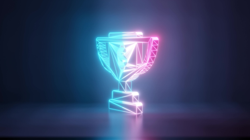 3d rendering glowing blue purple neon laser light with wireframe symbol of award cup with dollar sign in empty space corner seamless fade animation