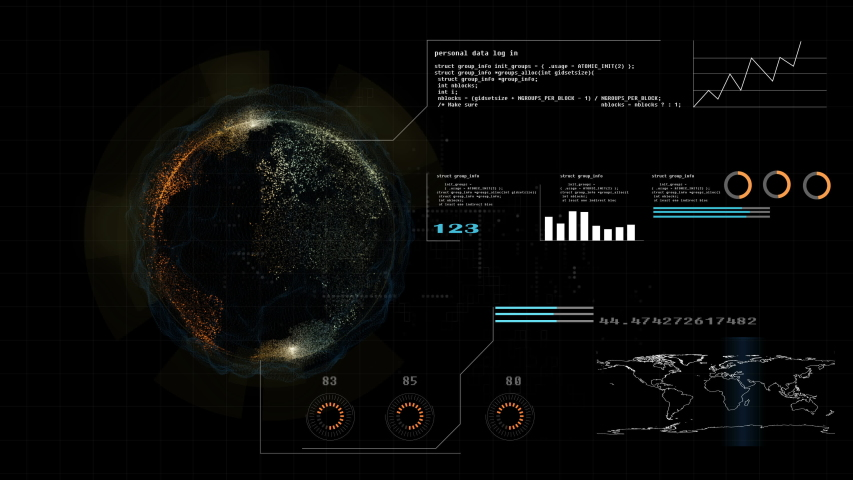 Hi technology interface, 4K footage hud global interface and technology, abstract technology ui futuristic concept hud interface hologram elements of digital data chart, This element finished by NASA   Shutterstock HD Video #1031785136