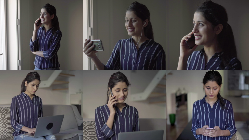 Collage of pretty young woman being inside, talking and texting on phone and having video chat, using earphones, working on laptop. Work, communication concept #1031810063